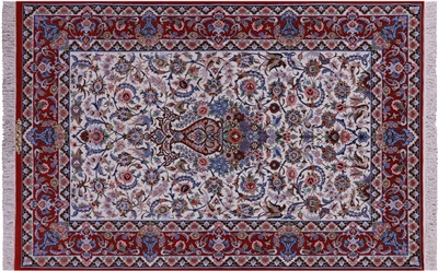 Persian Isfahan Hand Knotted Wool & Silk Signed Rug