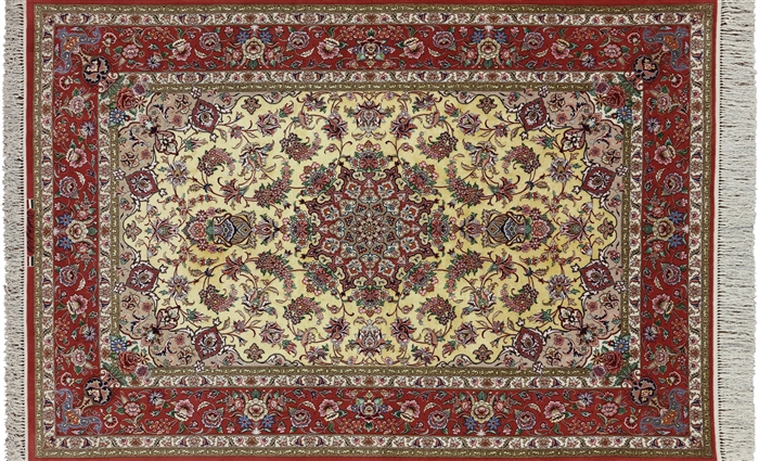 Super Fine Signed Persian Isfahan Hand Knotted Silk Rug