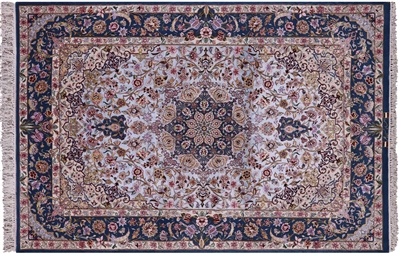 Super Fine Signed Persian Isfahan Hand Knotted Silk Area Rug