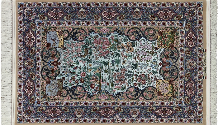 Super Fine Authentic Persian Isfahan Signed Hand Knotted Silk Area Rug