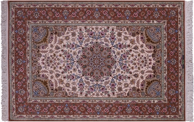 Hand Knotted Wool & Silk Signed Persian Isfahan Rug