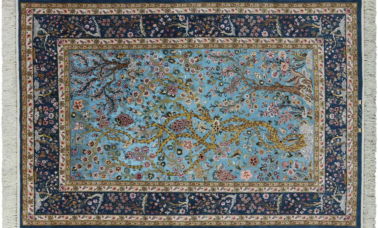 5 X 8 Tree Of Life Super Fine Persian Signed Isfahan Handmade Silk Area Rug Sa2716