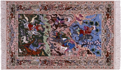Signed Persian Isfahan Hunting Scene Wool & Silk Area Rug