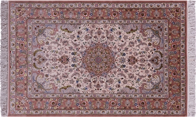 Signed Persian Isfahan Wool & Silk Area Rug