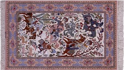 Hunting Scene Handmade Wool & Silk Authentic Signed Persian Isfahan Rug