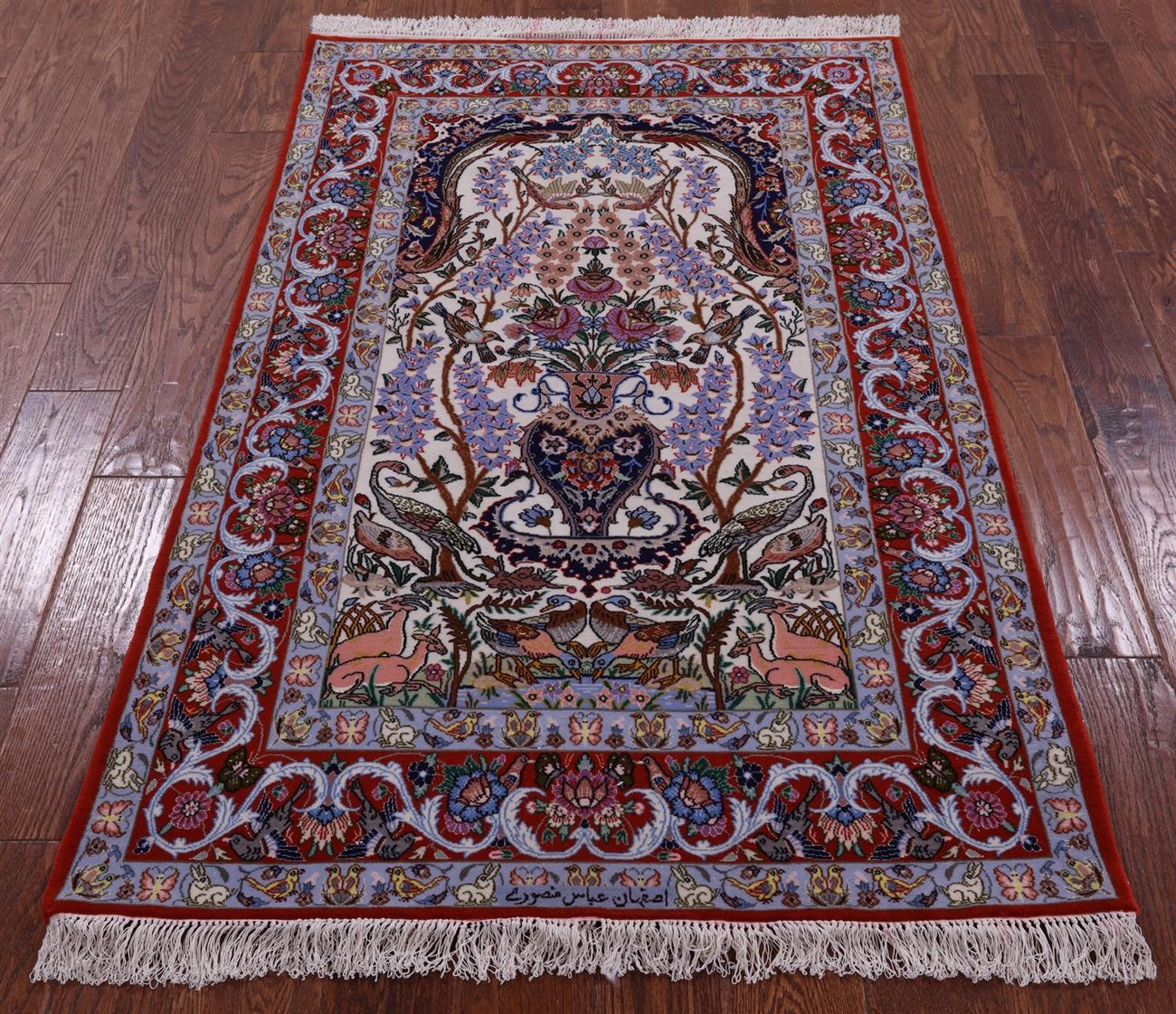 4 X 5 Signed Persian Isfahan Handmade Wool Silk Rug