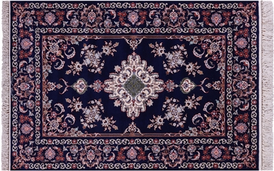 Wool & Silk Signed Persian Isfahan Hand Knotted Area Rug