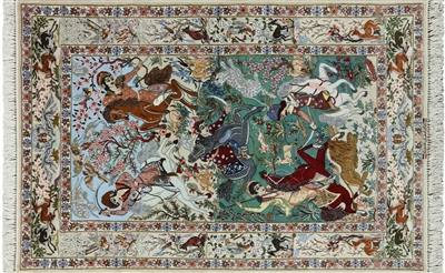 Hunting Scene Signed Authentic Persian Isfahan Wool & Silk Rug