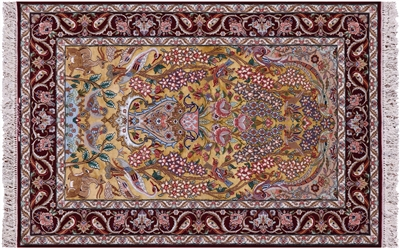 Wool & Silk Hand Knotted Persian Isfahan Area Rug