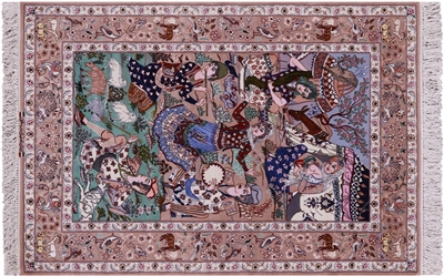 Pictorial Scene Hand Knotted Wool & Silk Signed Persian Isfahan Rug