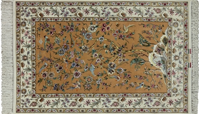 Authentic Persian Isfahan Wool & Silk Hand Knotted Rug