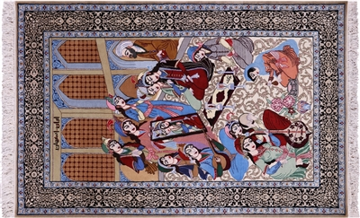 Hand Knotted Pictorial Scene Persian Isfahan Wool & Silk Rug