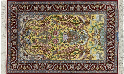 Signed Persian Isfahan Hand Knotted Wool & Silk Rug