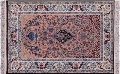 Signed Authentic Persian Isfahan Handmade Wool & Silk Area Rug