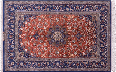 Signed Super Fine Persian Isfahan Hand Knotted Silk Area Rug