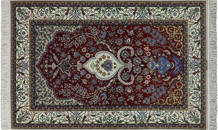 Persian Isfahan Hand Knotted Wool & Silk Rug