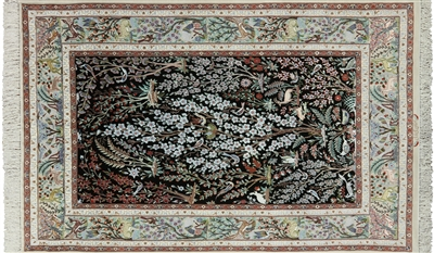Persian Hand Knotted Signed Wool & Silk Isfahan Rug