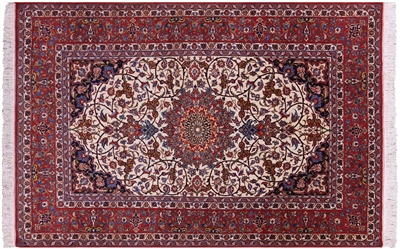 Antique Fine Persian Isfahan Hand Knotted Wool Rug