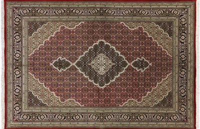 Tabriz Wool & Silk Red Rug