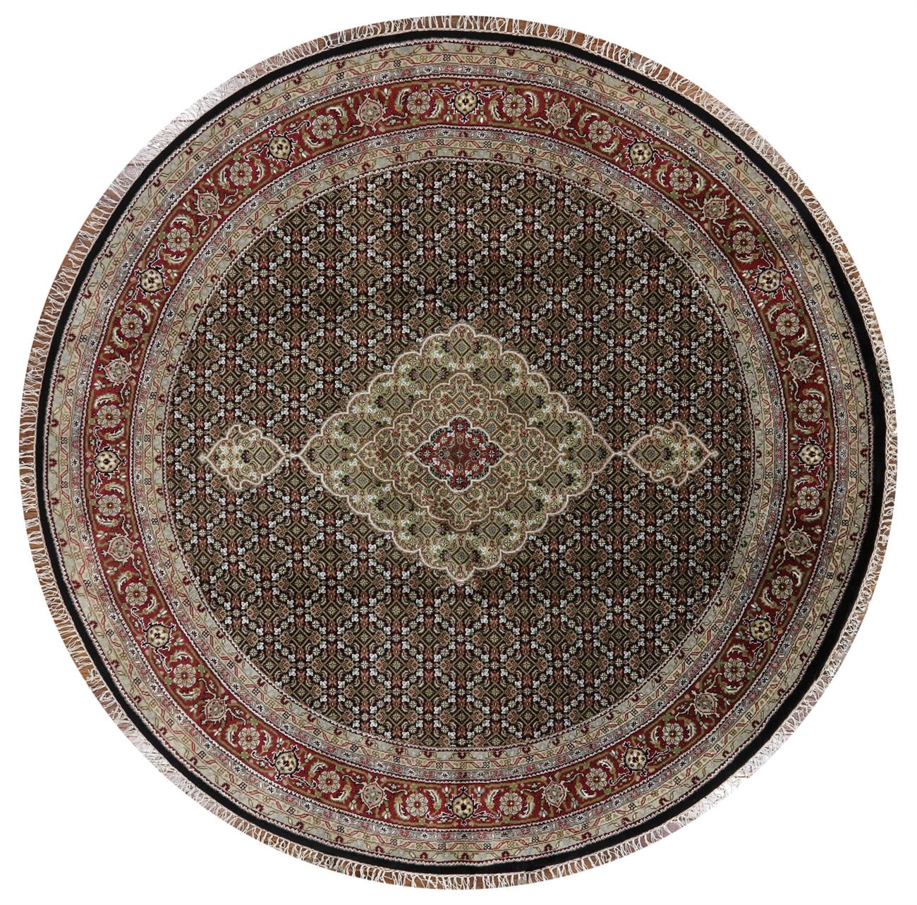 Round Hand Knotted Wool & Silk Black Tabriz Rug - 8' Round Hand Knotted Oriental Wool & Silk Black Tabriz Rug W1095
