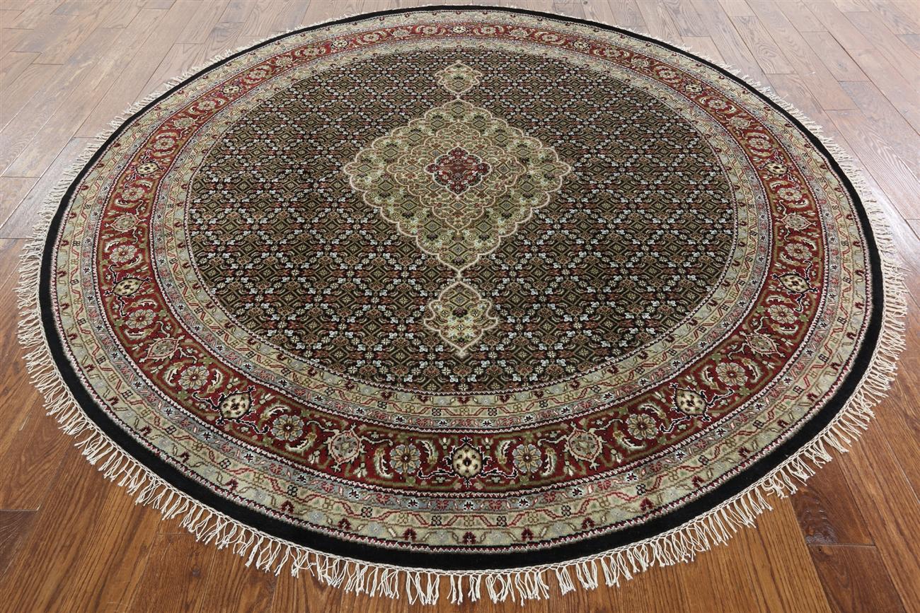 Categories - 8' Round Hand Knotted Oriental Wool & Silk Black Tabriz Rug W1095
