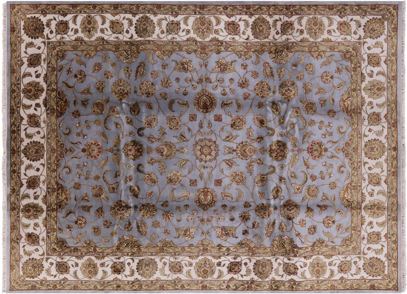50c0b59c7e Oriental Blue Rajasthan 9'x12' Wool & Silk Hand Knotted Wool Rug ...