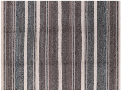 Moroccan Striped Hand Knotted Oriental Wool Rug