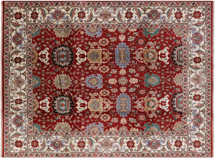 Oriental Mahal Red Hand Knotted Wool Rug