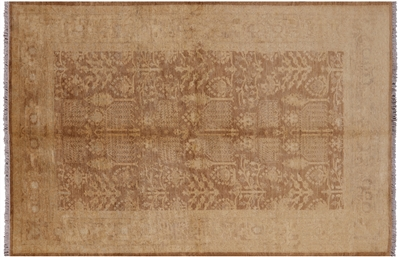 Antiqued Peshawar Brown Hand Knotted Wool Rug