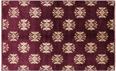 Chobi Peshawar Oriental Hand Knotted Wine Red Rug
