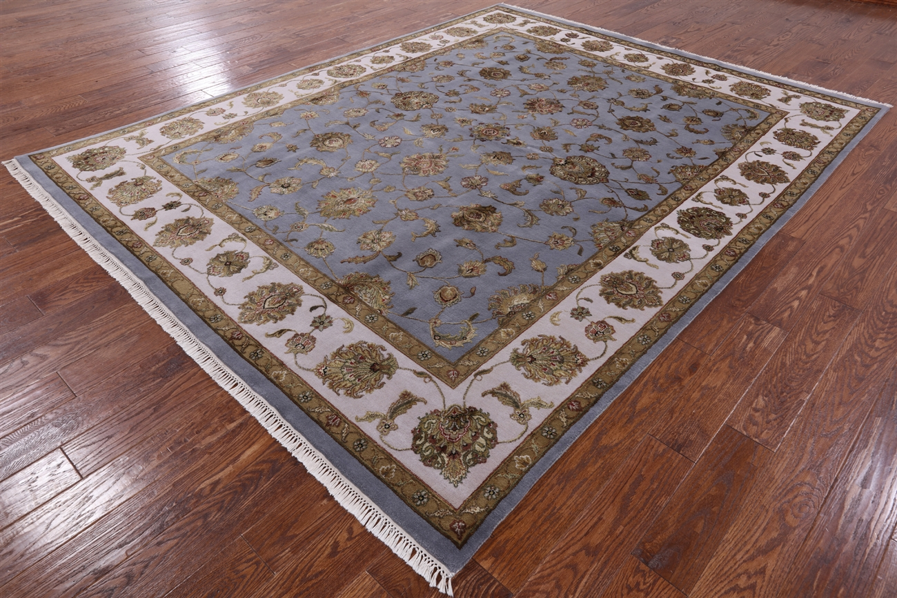 Wool Amp Silk Hand Knotted Oriental Rajasthan Blue 8 X10