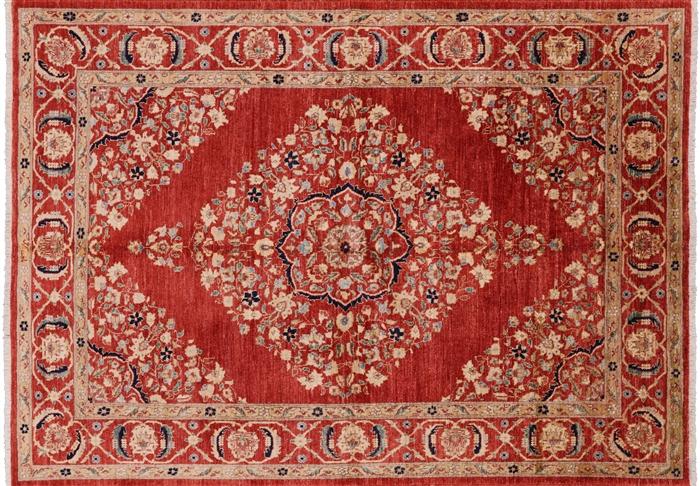 Oriental Tabriz Hand Knotted Area Rug 6 X 8 W2029