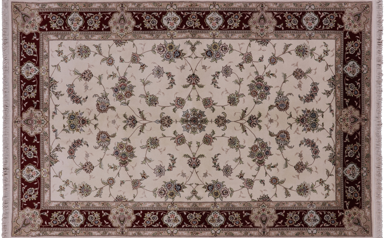 Oriental Wool Silk Floral Chinese Area Rug 6 X 9 W2048