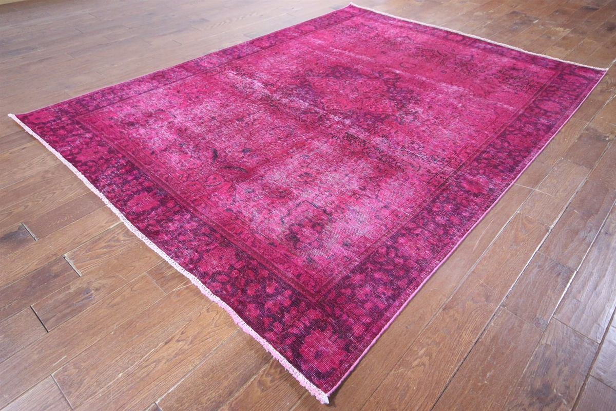 Persian Overdyed Collection Hand Knotted 7'x9' Pink Oriental Wool Area Rug  W217 - Persian Overdyed Collection Hand Knotted 7'x9' Pink Oriental Wool