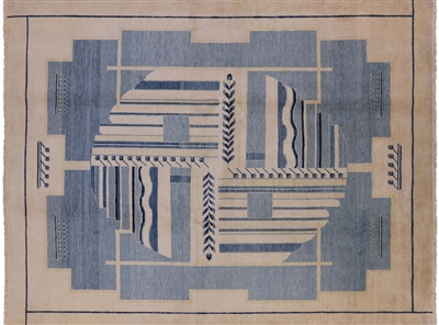 Geometric Gabbeh Hand Knotted Wool Area Rug