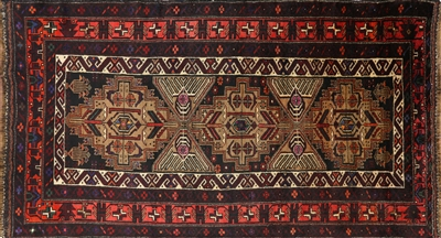 Wool on Wool Oriental Persian Balouch Area Rug