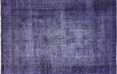 Overdyed Purple Hand Knotted Area Rug