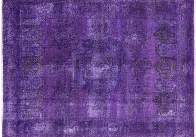 Oriental Purple Tabriz Overdyed Area Rug