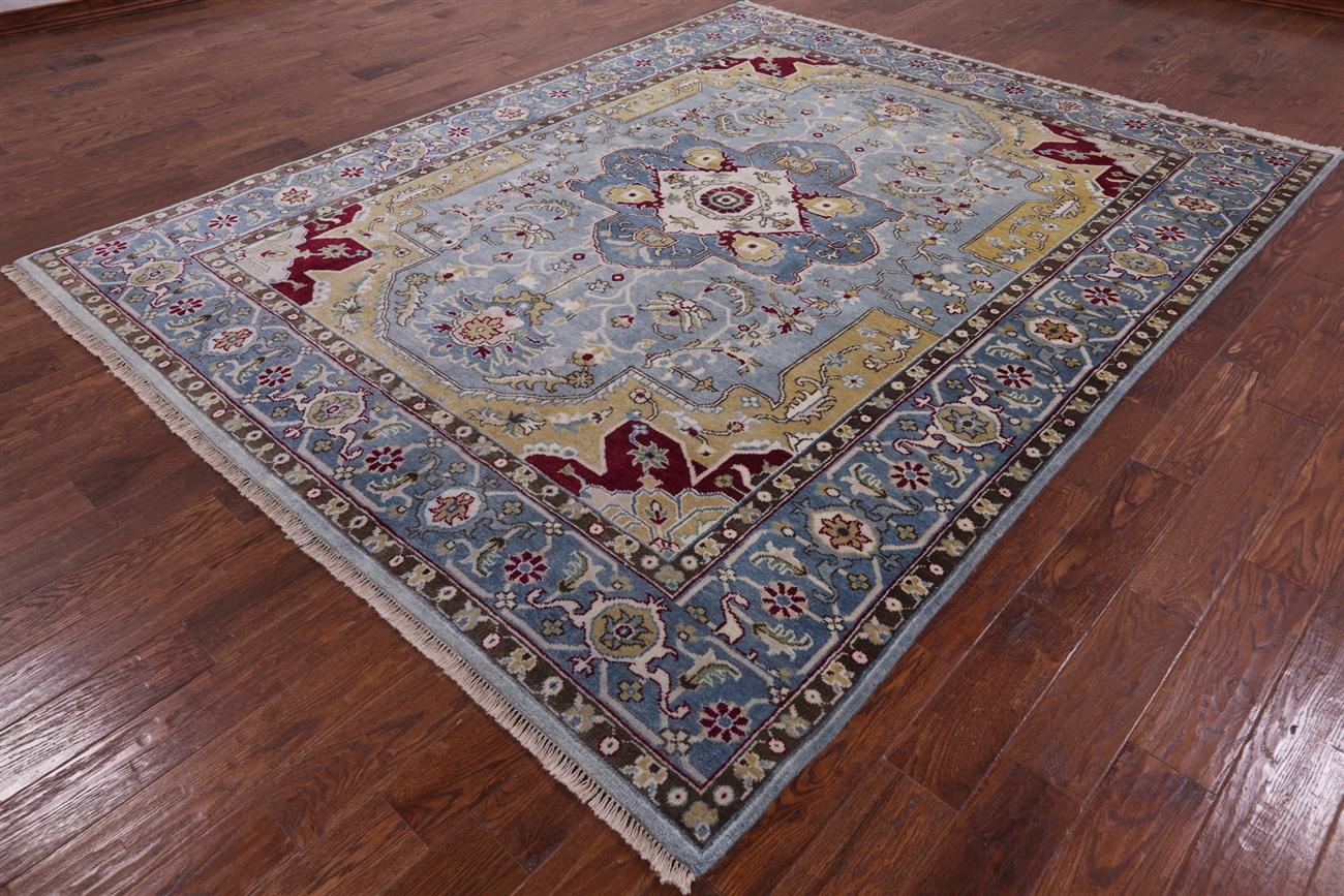 Traditional Light Blue Super Serapi 8 X 10 Wool Area Rug