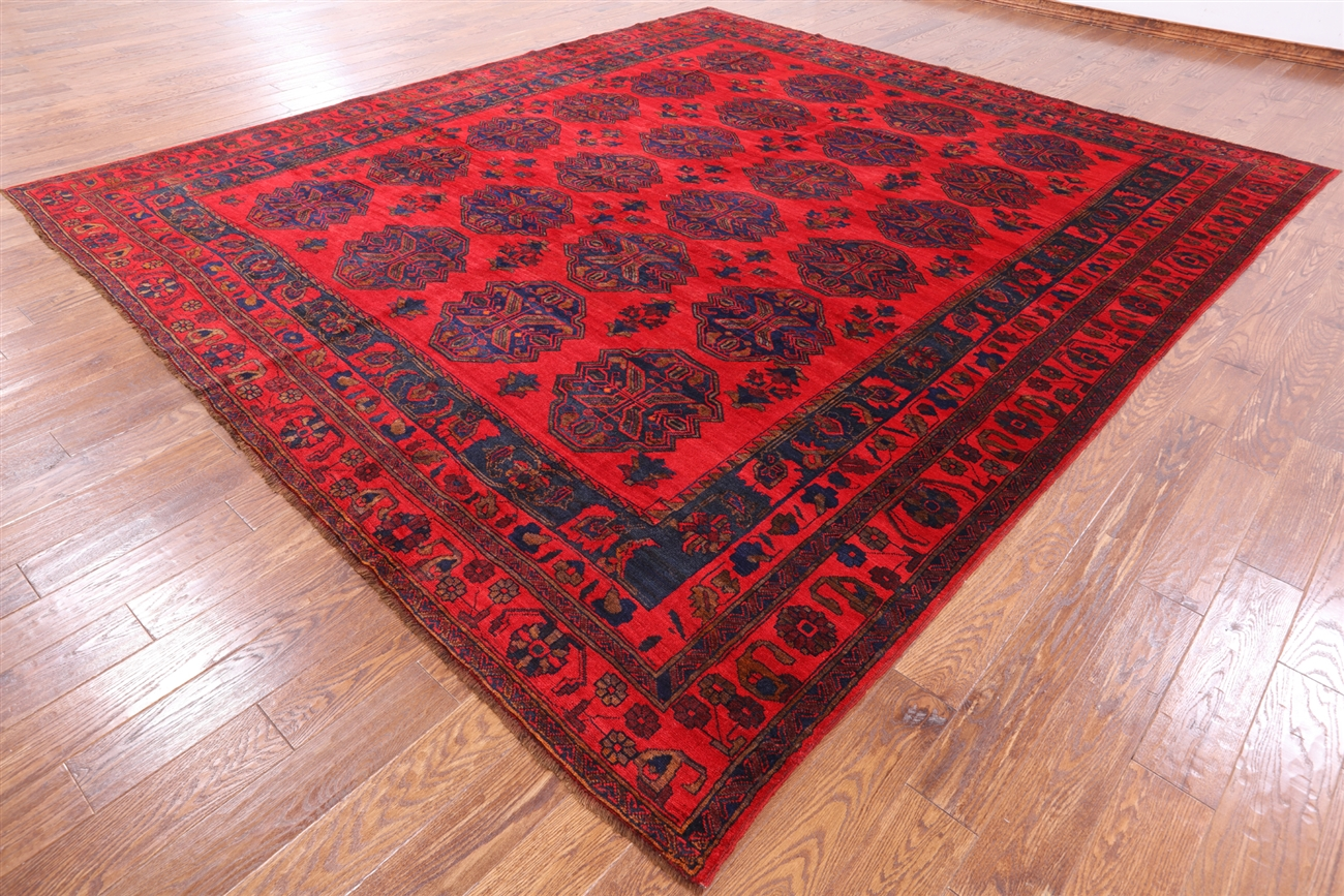 11 X12 Red Afghan Bokhara Hand Knotted Oriental Wool