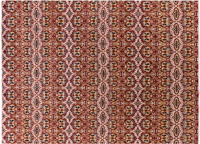 Ikat Collection Modern 10x14 Multicolor Hand Knotted Oriental Wool Area Rug W327