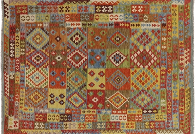 Tribal Collection Flat Weave Hand Knotted 7'x9' Kilim Multicolor Wool Rug W417