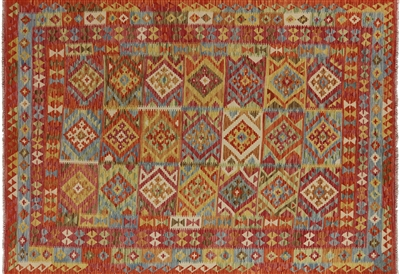 7'x10' Handmade Flat Weave Kilim Multicolor Hand Knotted Oriental Wool Rug W422