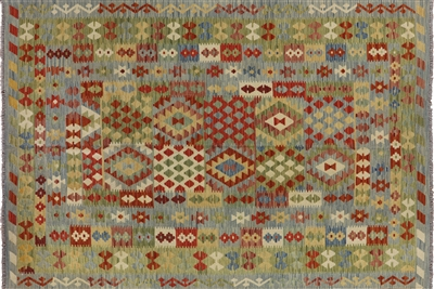 Tribal Kilim Multicolor Wool & Wool Flat Weave 7'x10' Hand Knotted Area Rug W424