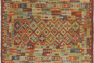 Kilim Collection Oriental 7x10 Hand Knotted Reversible Wool & Wool Area Rug W446