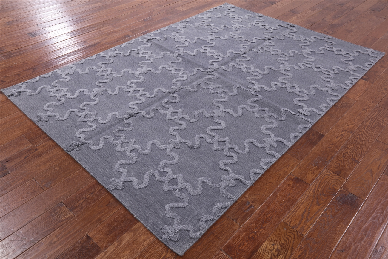 6 X9 Morrocan Hand Knotted Wool Area
