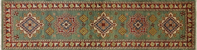Green Hand Knotted Wool 3'x11' Super Kazak Runner W662