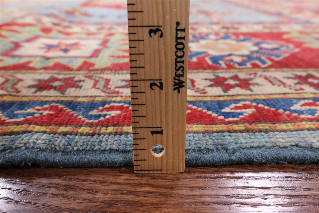 Hand Knotted Geo Floral Kazak Wool 8 X11 Area Rug W676