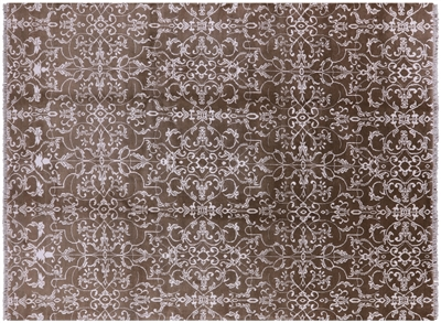 Hand Knotted Wool & Silk Floral Area Rug
