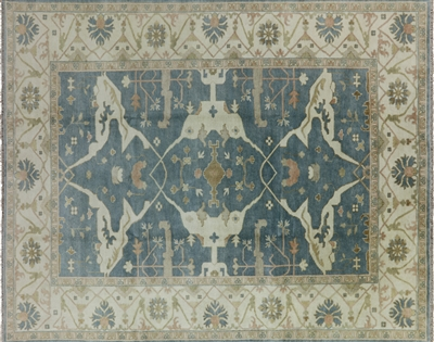 Oriental 9'x12' Oushak Floral Hand Knotted Rug W712